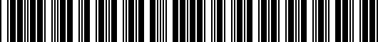 Barcode for PT9260C19820