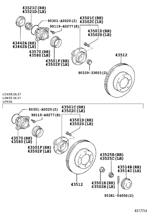 FRONT AXLE HUB Diagram