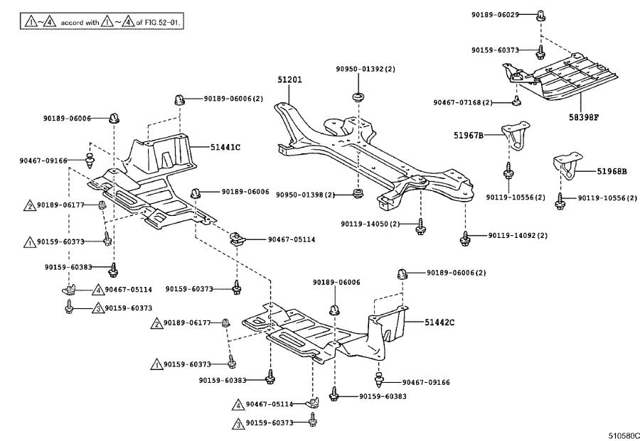 Diagram SUSPENSION CROSSMEMBER & UNDER COVER for your 1998 Toyota Camry
