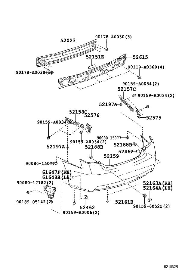 Diagram REAR BUMPER & BUMPER STAY for your 2008 Toyota Camry