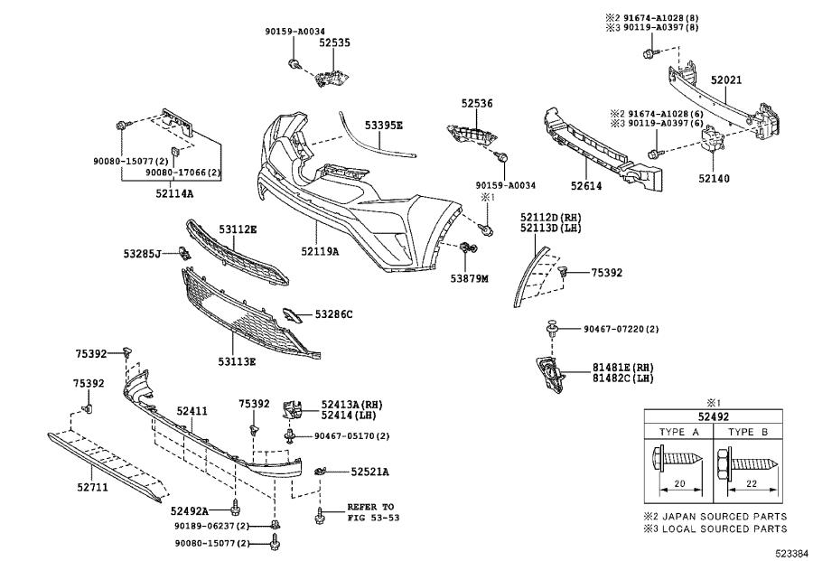Diagram FRONT BUMPER & BUMPER STAY for your 2005 Toyota RAV4