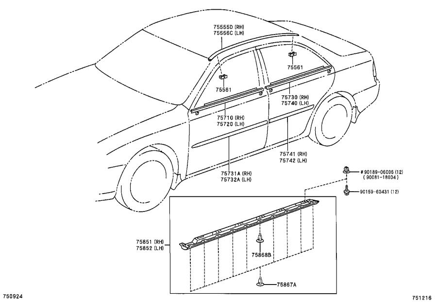 Diagram SIDE MOULDING for your 1992 Toyota Camry