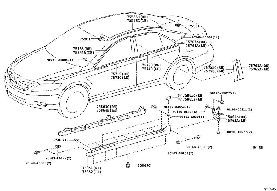 Diagram SIDE MOULDING for your 1998 Toyota Camry
