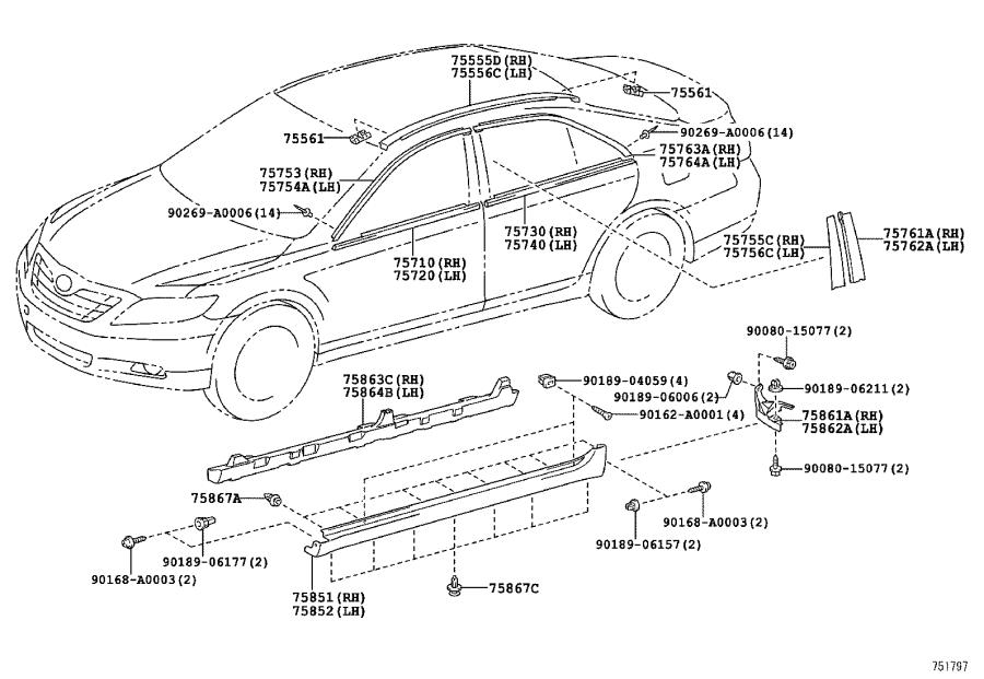 Diagram SIDE MOULDING for your Toyota Camry