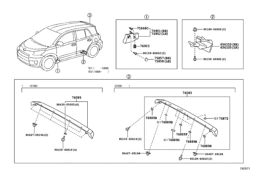 Diagram MUDGUARD & SPOILER for your 1992 Toyota Camry